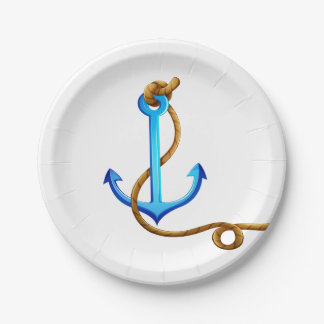 Prato De Papel Festa de casamento náutica do azul da âncora do