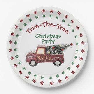 Prato De Papel Festa de Natal da Guarnição--Árvore - placas de