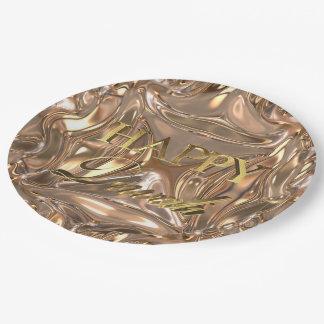 Prato De Papel Festival feliz de Diwali da tipografia do ouro das