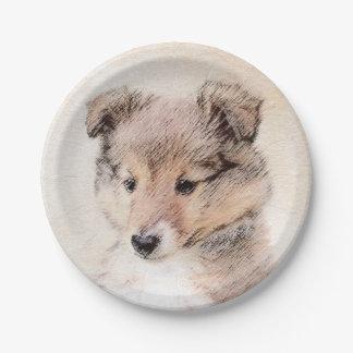 Prato De Papel Filhote de cachorro do Sheepdog de Shetland
