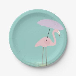 Prato De Papel Flamingo nas placas de papel do partido da chuva