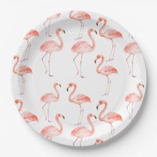 Prato De Papel Flamingos cor-de-rosa