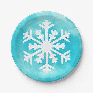 Prato De Papel Floco de neve branco no fundo azul da aguarela