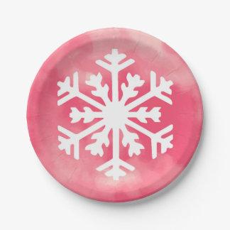 Prato De Papel Floco de neve branco no fundo cor-de-rosa da