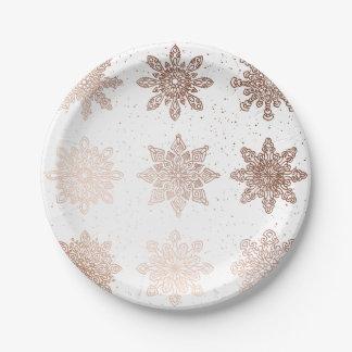 Prato De Papel Flocos de neve cor-de-rosa modernos elegantes do