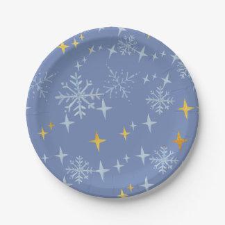 Prato De Papel flocos de neve e explosões da estrela