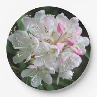 """Prato De Papel """"Flor da flor do rosa do rododendro romântico"""""""