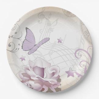 Prato De Papel Flor do vintage da lavanda, borboleta, música,