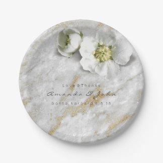 Prato De Papel Flor real branca do brilho de mármore cinzento