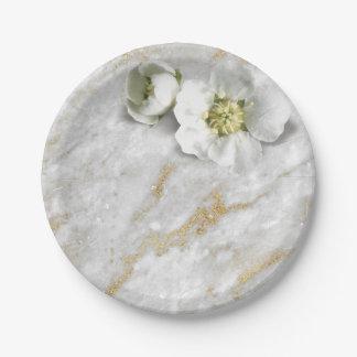 Prato De Papel Flor real branca do brilho de pedra de mármore