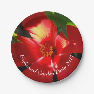 Prato De Papel Flor vermelha do hibiscus na luz solar