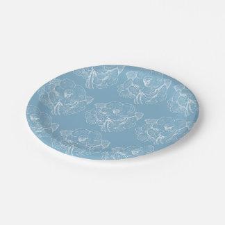 Prato De Papel Floral azul das PLACAS DE PAPEL