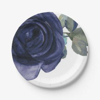 Prato De Papel Floral azul roxo do índigo vibrante vívido