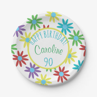 Prato De Papel floral do aniversário do 90 personalizado