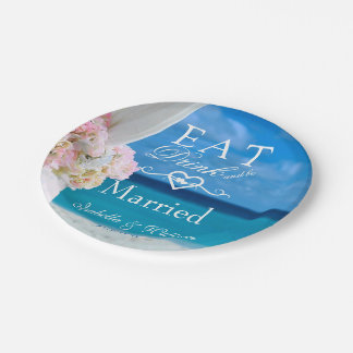 Prato De Papel Floral elegante come o casamento de praia casado