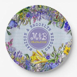 Prato De Papel Floral roxo do vintage dos Wildflowers da festa de