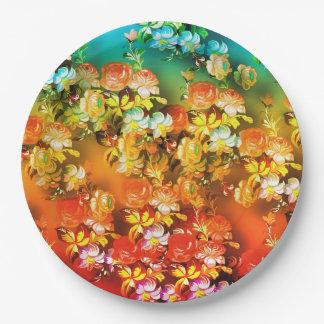 Prato De Papel Flores abstratas brilhantes e bonitas no pla do