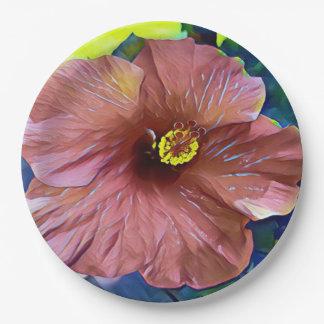 Prato De Papel Flores artísticas bonitas do hibiscus