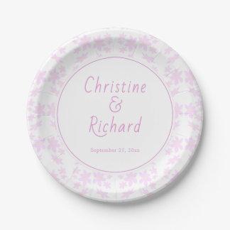 Prato De Papel Flores cor-de-rosa delicadas que Wedding