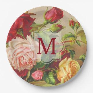 Prato De Papel Flores do buquê dos rosas do Victorian do vintage