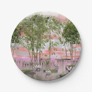 Prato De Papel Flores e bambus de Lotus - 3D rendem