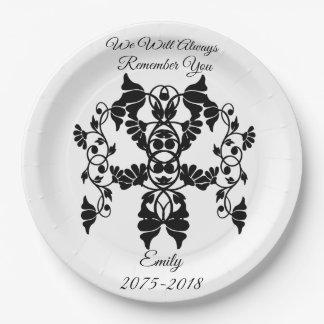 Prato De Papel Flores Embellishing preto e branco para o funeral