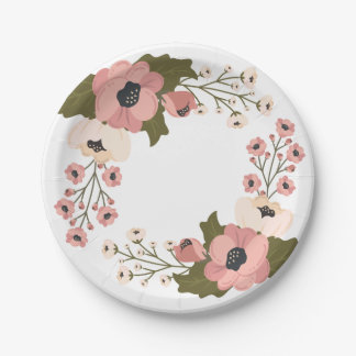 Prato De Papel Flores florais cor-de-rosa da festa de casamento