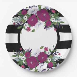 Prato De Papel Flores preto e branco florais roxas das listras