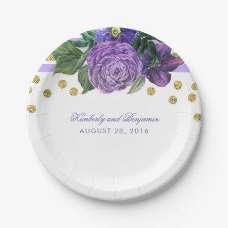 Prato De Papel Flores roxas da aguarela e confetes do ouro