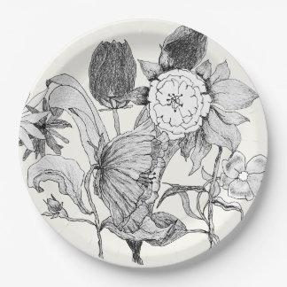 Prato De Papel Flores tiradas do buquê floral mão artística