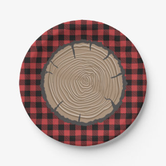 Prato De Papel Floresta preta vermelha da xadrez das placas de