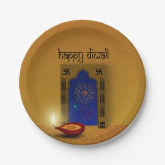 Prato De Papel Fogos-de-artifício felizes festivos de Diwali -