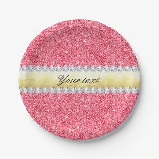 Prato De Papel Folha e diamantes cor-de-rosa de ouro dos Sequins