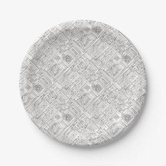 Prato De Papel Fora do Doodle geométrico Caixa-Preto e branco