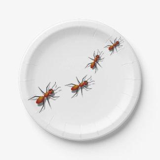 Prato De Papel Formigas vermelhas em seu piquenique