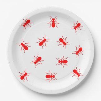 Prato De Papel Formigas vermelhas grandes na novidade do