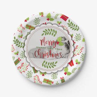 Prato De Papel Foto bonita dos presentes do roteiro do Natal
