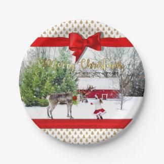 Prato De Papel Foto da alegria e da paz do Natal