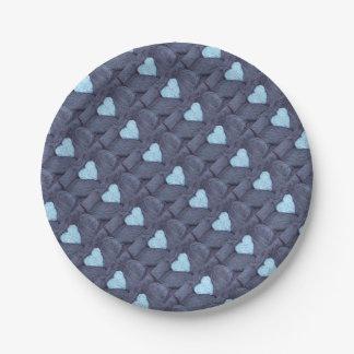 Prato De Papel Fotografia bonita do coração azul de lãs