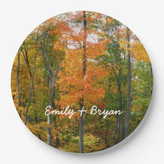 Prato De Papel Fotografia da natureza do outono das árvores de