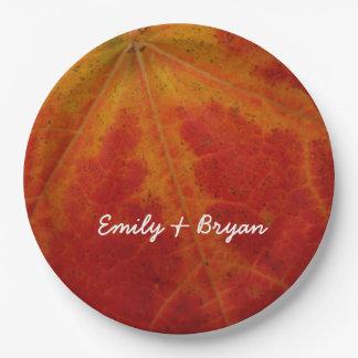 Prato De Papel Fotografia vermelha da natureza do outono do