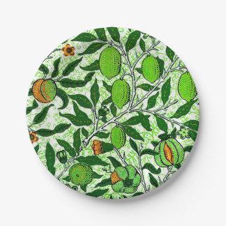 Prato De Papel Fruta exótica de William Morris, verde limão