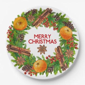 Prato De Papel Fruta verde da aguarela da grinalda do Feliz Natal