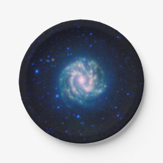 Prato De Papel Galáxia espiral azul do Pinwheel do espaço