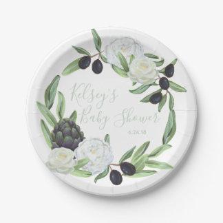 Prato De Papel Gardenia rústico do chá de fraldas e romântico