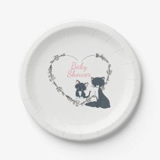 Prato De Papel Gato bonito, gatinho, chá de fraldas das meninas