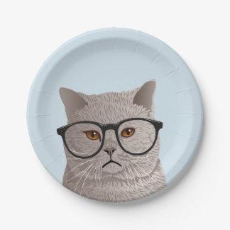 Prato De Papel Gato britânico de Shorthair do hipster