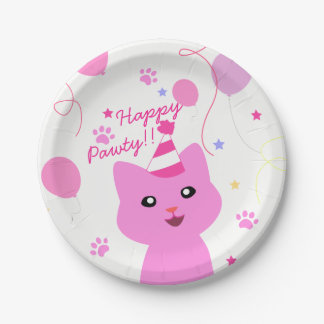 Prato De Papel Gato cor-de-rosa que deseja Pawty feliz