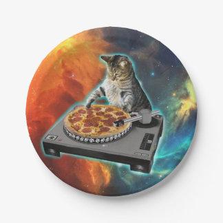 Prato De Papel Gato DJ com a mesa sadia do disco-jóquei