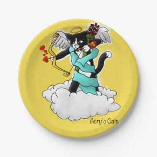 Prato De Papel Gato do Cupido do smoking do dia dos namorados